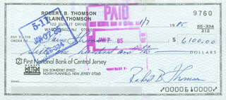 BOBBY THOMSON - AUTOGRAPHED SIGNED CHECK 01/07/1985 CO-SIGNED BY: ELAINE THOMSON