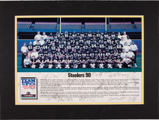 THE PITTSBURGH STEELERS - AUTOGRAPHED SIGNED PHOTOGRAPH CO-SIGNED BY: THOMAS EVERETT, BARRY FOSTER, JOHN JACKSON, ROD WOODSON, MIKE MULARKEY, CHRIS CALLOWAY, DELTON HALL, TERRY O'SHEA, D.J. JOHNSON, BRYAN HINKLE, LOUIS LIPPS, LARRY GRIFFIN, CRAIG VEASEY, DWIGHT STONE, JUSTIN STRZELCZYK, JOHN RIENSTRA, TIM WORLEY, DEREK HILL, LORENZO FREEMAN, HARDY NICKERSON