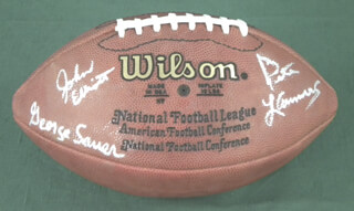 NEW YORK JETS - FOOTBALL SIGNED CO-SIGNED BY: PETE LAMMONS, GEORGE SAUER JR., JOHN JUMBO ELLIOT