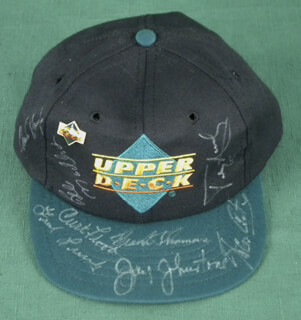 CURT FLOOD - HAT SIGNED CO-SIGNED BY: BILL MADLOCK JR., FRANK THOMAS, TERRY PUHL, JAY JOHNSTONE, STEVE GARVEY, CHARLIE HAYES