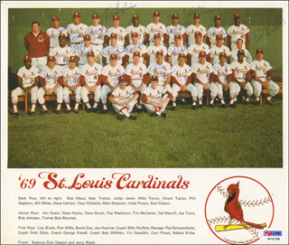 THE ST. LOUIS CARDINALS - AUTOGRAPHED SIGNED PHOTOGRAPH CO-SIGNED BY: JOE TORRE, CURT FLOOD, BOB GIBSON, VIC DAVALILLO, PHIL GAGLIANO, MIKE MOONMAN SHANNON, RAY WASHBURN, VADA PINSON, STEVE HUNTZ, JULIAN HOOLIE-THE PHANTOM JAVIER, DICK SISLER, BILLY MUFFETT, CHUCK TAYLOR, DAVE GIUSTI, CHARLES BOOTS DAY, DAVE RICKETTS, RON WILLIS