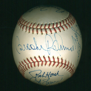Autographs: JIM PERRY - BASEBALL SIGNED CIRCA 1989 CO-SIGNED BY: BILL MOOSE SKOWRON, KEN SILVESTRI, BOBBY RICHARDSON, DENNY DOYLE, RALPH HOUK, BROOKS ROBINSON, JAKE GIBBS, RICK (FREDERIC CARL) REICHARDT, LARRY BROWN