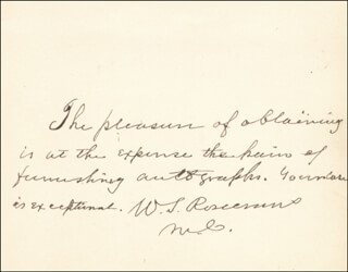 MAJOR GENERAL WILLIAM S. OLD ROSY ROSECRANS - AUTOGRAPH NOTE SIGNED