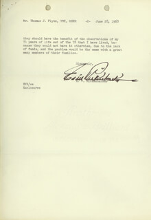MAJOR EDWARD V. EDDIE RICKENBACKER - TYPED LETTER SIGNED 06/28/1968