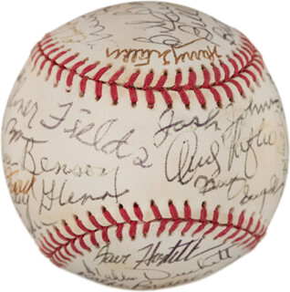 CURT FLOOD - AUTOGRAPHED SIGNED BASEBALL CO-SIGNED BY: HARMON KILLEBREW, ANDY HANDY ANDY PAFKO, JOE RUDI, BILLY SAMPLE, DOCK ELLIS, AL MR. SCOOP OLIVER, REX BARNEY, BERT CAMPANERIS, FRANK THOMAS, TERRY PUHL, RALPH HAWK BRANCA, DON LARSEN, GENE BENSON, STANLEY DOC GLENN, BILL READY CASH, JOSHUA JOHNSON, WILMER FIELDS, SHERWOOD BREWER, MAX MANNING