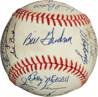 MINNESOTA TWINS - AUTOGRAPHED SIGNED BASEBALL CIRCA 1982 CO-SIGNED BY: TOM BRUNO BRUNANSKY, MICKEY HATCHER, BOBBY BOBO CASTILLO, FRANK SWEET MUSIC VIOLA, BOBBY MITCHELL, RON WASHINGTON, KENT HERBIE HRBEK, GARY GAETTI, ALBERT WILLIAMS, RANDY BUSH, SAL BUTERA, JOHN CASTINO, TIM LAUDNER, PAUL BORIS, BRADLEY HAVENS, JEFF LITTLE, JACK O'CONNOR, PETE REDFERN, RANDY JOHNSON