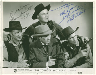 THE YOUNGER BROTHERS MOVIE CAST - INSCRIBED PRINTED PHOTOGRAPH SIGNED IN INK 05/30/1990 CO-SIGNED BY: ROBERT HUTTON, BRUCE (HERMAN BRIX) BENNETT