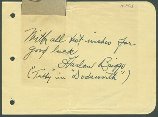 HARLAN BRIGGS - AUTOGRAPH NOTE SIGNED