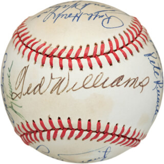 BOSTON RED SOX - AUTOGRAPHED SIGNED BASEBALL CO-SIGNED BY: JIM LONBORG, BERNIE CARBO, MEL PARNELL, JIMMY PIERSALL, WILLARD NIXON, IKE DELOCK, RALPH HOUK, FRANK MALZONE, RICH GEDMAN, JOHNNY PESKY, TED WILLIAMS, EDDIE PELLAGRINI, BOBBY DOERR, PETE RUNNELS, GENE STEPHENS, LUIS TIANT JR.