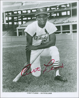 CURT FLOOD - AUTOGRAPHED SIGNED PHOTOGRAPH
