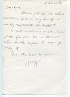 JUDY NORTON-TAYLOR - AUTOGRAPH LETTER SIGNED 03/02/1989