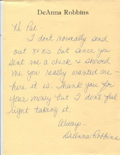 DEANNA ROBBINS - AUTOGRAPH LETTER SIGNED