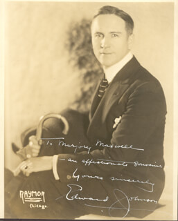 EDWARD P. JOHNSON - AUTOGRAPHED INSCRIBED PHOTOGRAPH
