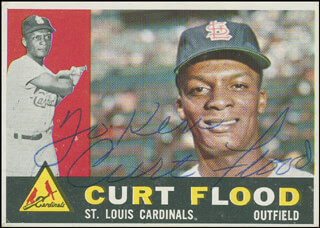 CURT FLOOD - INSCRIBED TRADING/SPORTS CARD SIGNED