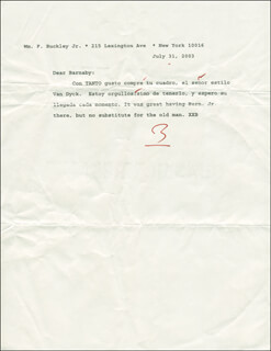 WILLIAM F. BUCKLEY JR. - TYPED LETTER SIGNED 07/31/2003