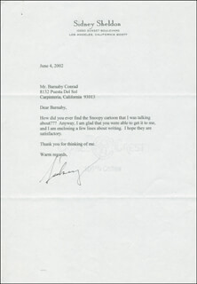 SIDNEY SHELDON - TYPED LETTER SIGNED 06/04/2002