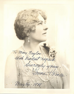 LOUISE HOMER - AUTOGRAPHED INSCRIBED PHOTOGRAPH 05/26/1939