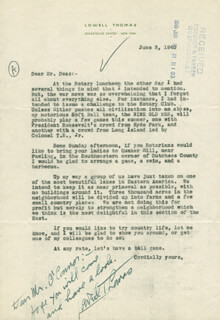 LOWELL THOMAS - TYPED LETTER SIGNED 06/03/1940