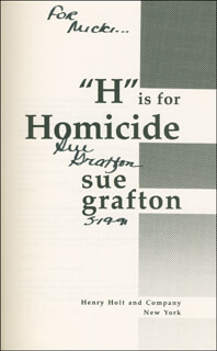 SUE GRAFTON - INSCRIBED BOOK SIGNED 05/19/1991