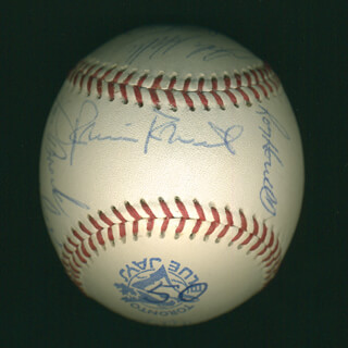 CURT FLOOD - AUTOGRAPHED SIGNED BASEBALL CO-SIGNED BY: JOE TORRE, TONY OLIVA, AL MR. SCOOP OLIVER, BOB GIBSON, MIKE TORREZ, DICK MULE DIETZ, LOU BROCK, SMOKY BURGESS, ROY HOWELL, BOBBY THOMSON, FRANK BOLLING, ROBIN ROBERTS, RALPH GARR, RICK BOSETTI