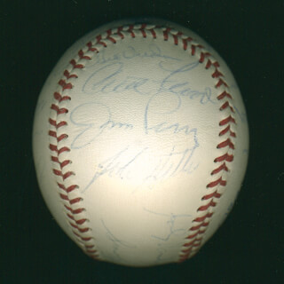 Autographs: CURT FLOOD - BASEBALL SIGNED CO-SIGNED BY: JOE TORRE, TONY OLIVA, BO JACKSON, ANDY CAREY, CLETE BOYER, BOB GIBSON, DICK MULE DIETZ, BOB FELLER, BILL VIRDON, LOU BROCK, BROOKS ROBINSON, SMOKY BURGESS, JAKE GIBBS, ROY HOWELL, BOBBY THOMSON, FRANK BOLLING, ROBIN ROBERTS, RALPH GARR, JIM PERRY, JOHNNY DOUBLE NO-HIT VANDER MEER, RICK BOSETTI
