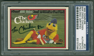 THE (TED GIANNOULAS) SAN DIEGO CHICKEN - TRADING/SPORTS CARD SIGNED