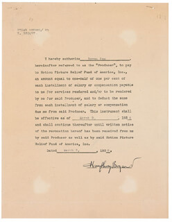 HUMPHREY BOGIE BOGART - DOCUMENT SIGNED 03/02/1938