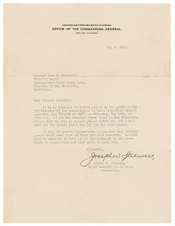 GENERAL JOSEPH W. VINEGAR JOE STILWELL - TYPED LETTER SIGNED 05/05/1941