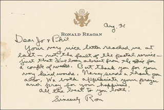 PRESIDENT RONALD REAGAN - AUTOGRAPH LETTER SIGNED 08/31