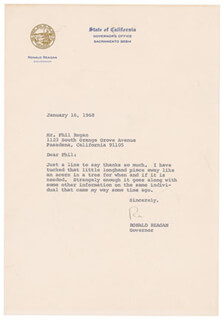 PRESIDENT RONALD REAGAN - TYPED LETTER SIGNED 01/16/1968