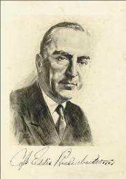 MAJOR EDWARD V. EDDIE RICKENBACKER - ILLUSTRATION SIGNED 1947
