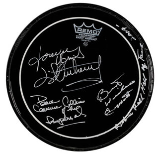 LITTLE ANTHONY AND THE IMPERIALS - DRUMHEAD SIGNED CO-SIGNED BY: LITTLE ANTHONY AND THE IMPERIALS (ANTHONY GOURDINE), LITTLE ANTHONY AND THE IMPERIALS (CLARENCE COLLINS), LITTLE ANTHONY AND THE IMPERIALS (ERNEST WRIGHT)