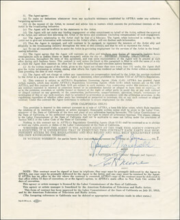 JAYNE MANSFIELD - DOCUMENT SIGNED 06/04/1957