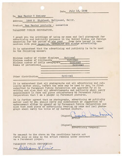 CAROLE LOMBARD - DOCUMENT SIGNED 07/13/1932