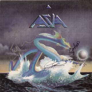 Autographs: ASIA - RECORD ALBUM COVER SIGNED 2009 CO-SIGNED BY: ASIA (CARL PALMER), ASIA (GEOFF DOWNES), ASIA (STEVE HOWE)