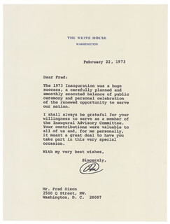 PRESIDENT RICHARD M. NIXON - TYPED LETTER SIGNED 02/22/1973