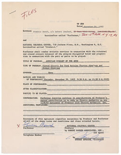 FREDRIC MARCH - DOCUMENT MULTI-SIGNED 11/28/1962 CO-SIGNED BY: STUART SPRAGUE