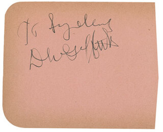 D.W. (DAVID LEWELYN WARK) GRIFFITH - INSCRIBED SIGNATURE
