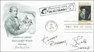 RUTH BARNES - FIRST DAY COVER WITH AUTOGRAPH SENTIMENT SIGNED