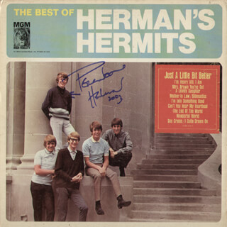 HERMAN'S HERMITS (PETER NOONE) - RECORD ALBUM COVER SIGNED 2003