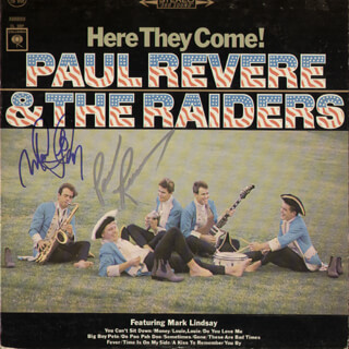 PAUL REVERE & THE RAIDERS - RECORD ALBUM COVER SIGNED CO-SIGNED BY: PAUL REVERE AND THE RAIDERS (PAUL REVERE), MARK LINDSAY