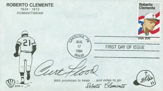 CURT FLOOD - FIRST DAY COVER SIGNED