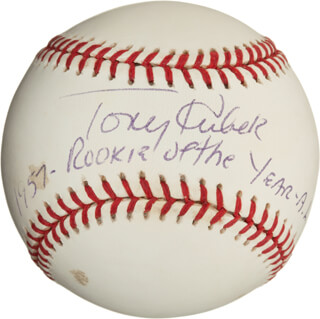 TONY KUBEK - ANNOTATED BASEBALL SIGNED