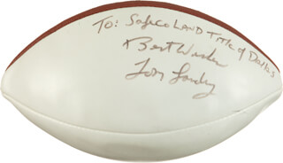 TOM LANDRY - INSCRIBED FOOTBALL SIGNED