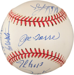 THE NEW YORK YANKEES - AUTOGRAPHED SIGNED BASEBALL CO-SIGNED BY: JOE TORRE, WADE BOGGS, MEL STOTTLEMYRE, DAVE CONE, DON ZIMMER, MARIANO RIVERA, JOE GIRARDI, JIMMY KEY, ANDY FOX