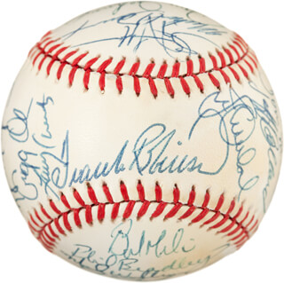 THE BALTIMORE ORIOLES - AUTOGRAPHED SIGNED BASEBALL CO-SIGNED BY: KEITH MORELAND, JOHNNY OATES, DAVE JOHNSON, MARK WILLIAMSON, CAL RIPKEN JR., TOM McCRAW, BRADY ANDERSON, BOB MILACKI, GREG W. OLSON, PETE HARNISCH, BILLY RIPKEN, JEFF BALLARD, RANDY MILLIGAN, FRANK ROBINSON, JAMIE QUIRK, MIKE DEVEREUX, MARK THURMOND, MICKEY TETTLETON, BOB MELVIN, PHIL BRADLEY, JIM TRABER, DAVE SCHMIDT, CURT MOTTON, STEVE FINLEY, CRAIG WORTHINGTON, LARRY SHEETS, RENE GONZALES, STAN JEFFERSON