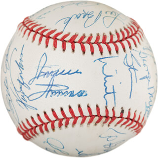 Autographs: STEVE CARLTON - INSCRIBED BASEBALL SIGNED CO-SIGNED BY: BILL SHARMAN, GEORGE FOSTER, BOB GIBSON, LUIS APARICIO, ROLLIE FINGERS, STAN MIKITA, GEORGE L. MIKAN, LOU BROCK, MINNIE (SATURNINO ORESTES) MINOSO, Y. A. TITTLE, WARREN SPAHN, PETE ROSE, STEVE GARVEY, PAUL V. HORNUNG, FERGUSON JENKINS