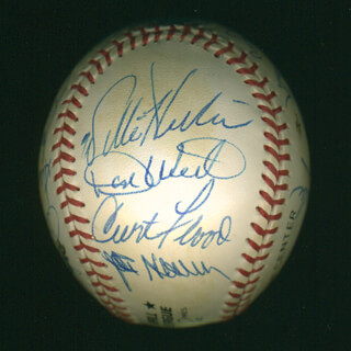CURT FLOOD - AUTOGRAPHED SIGNED BASEBALL CO-SIGNED BY: DICK DUCKY SCHOFIELD SR., ORLANDO THE BABY BULL CEPEDA, DON WERT, RAY OYLER, BILL FREEHAN, DICK McAULIFFE, WAYNE GRANGER, LARRY JASTER, PHIL GAGLIANO, DICK TRACEWSKI, JULIAN HOOLIE-THE PHANTOM JAVIER, LOU BROCK, JOE HOERNER, WILLIE HORTON, ED SPIEZIO, BOB (BOBBY) TOLAN, AL MR. TIGER KALINE, NELSON NELLIE BRILES, JOHN EDWARDS
