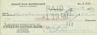 EDGAR RICE BURROUGHS - AUTOGRAPHED SIGNED CHECK 01/16/1940