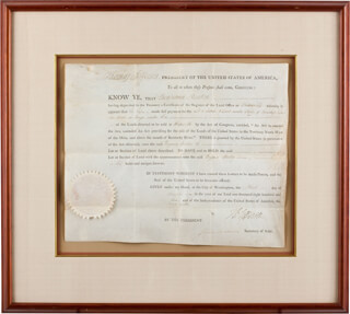 PRESIDENT THOMAS JEFFERSON - LAND GRANT SIGNED 11/03/1803 CO-SIGNED BY: PRESIDENT JAMES MADISON